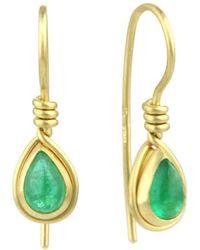 Prism Design - 9kt Gold Emerald Teardrop Earrings - Lyst