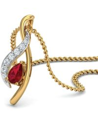 Diamoire Jewels - Premium Quality Diamonds And Ruby Pendant Nature Inspired In 18kt Yellow Gold - Lyst