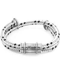 Anchor & Crew - Grey Dash Larne Silver And Rope Bracelet - Lyst