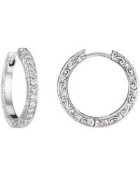 Penny Preville - Diamond White Gold Hoop Earrings - Lyst