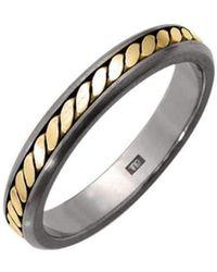 Prism Design - Titanium And 18kt Gold Rope Ring - Lyst