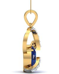 Diamoire Jewels - Oval Shape Sapphire And Diamond Pendant In 14kt Yellow Gold - Lyst