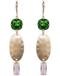 Nadia Minkoff - Fern Green Oval Textured Long Earrings - Lyst