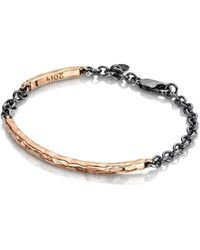 Becky Rowe Rose Gold Beaten Bangle With Oxidised Silver Chain | - Metallic