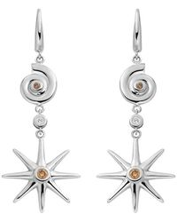 Ayalla Joseph - Star And Shell Earrings White Gold - Lyst