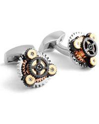 Tateossian - Silver & Gold Rotondo Gear Cufflinks - Lyst