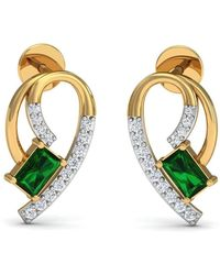 Diamoire Jewels Hand-carved 14kt Yellow Gold Prong Emerald Earrings with Diamonds svwVc2xqpY