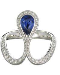Baenteli - White Gold & Blue Sapphire Royale Pear Ring   - Lyst