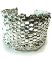 Private Opening - Honeycomb Shiny Silver Cuff - Lyst