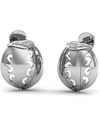 Diamoire Jewels - 10kt White Gold And Premium Diamonds Pave Earrings - Lyst