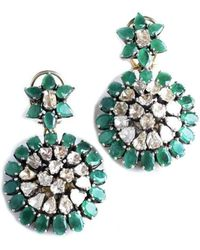 M's Gems by Mamta Valrani - Dazzle Earrings With Diamonds And Emeralds - Lyst