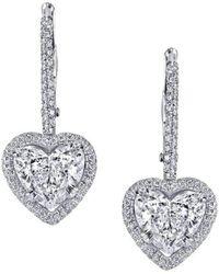 Harry Kotlar Alternating Hearts & Cushion Cut diamond Drop Earrings kQGgK