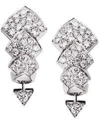 Akillis - Python White Gold Diamond Stud Earrings - Lyst