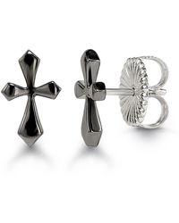 HERA - Mini Midnight Cross Stud Earrings - Lyst