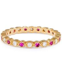 Katherine LeGrand Custom Goldsmith - Petite Stacking Ring Pink Sapphire And Yellow Gold - Lyst