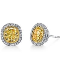 Harry Kotlar - Fancy Yellow Cushion Cut With Halo Pave Stud Earrings - Lyst