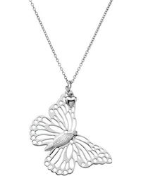 Lily and Lotty - Scarlett Silver & Diamond Butterfly Necklace - Lyst