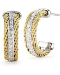 Alor - Classique Earrings Yellow And Grey Small Diamond Hoop - Lyst