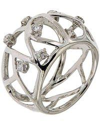 Botta Gioielli - White Gold Diamonds Band Air Ring - Lyst
