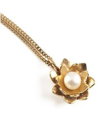 Vicky Davies - Sterling Silver & 18kt Gold Lotus Pearl Pendant Necklace - Lyst