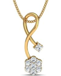 Diamoire Jewels - Hand-hammered Pendant With 8 Diamonds Inspired By Nature In 10kt Yellow Gold - Lyst