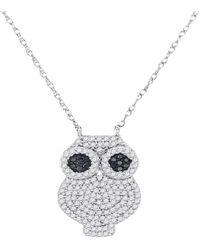 Cosanuova - Black Diamond Owl Bird Necklace In White Gold - Lyst