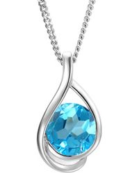 Amore Argento - Rhodium Plated Sterling Silver Viola Blue Necklace - Lyst