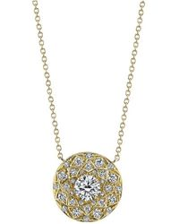 Harry Kotlar - Round Diamond Solitaire Bloom Artisan Pave Necklace - Lyst