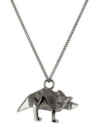 Origami Jewellery - Black Silver Mini Triceratop Origami Necklace - Lyst