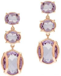 Alexandra Alberta - Yellow Gold Plated Lexington Earrings With Rose De France Amethyst - Lyst