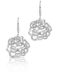 Fei Liu - Rose Medium Earrings White Rhodium With Cz - Lyst