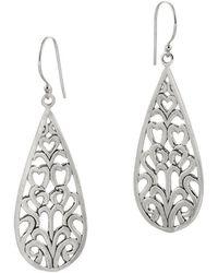 Desert Pearl - Sterling Silver Filigree Heart Drop Earrings - Lyst