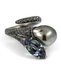 baerjewels - Natural Black Tahitian Keshi Pearl Ring - Lyst