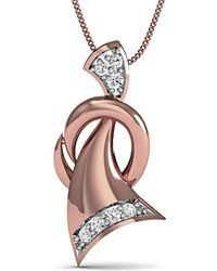 Diamoire Jewels - Pave Set 7 Diamond Pendant Inspired By Nature In 10kt Rose Gold - Lyst