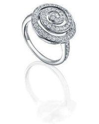 Soley London - 18kt White Gold Swirl Diamond Ring - Lyst