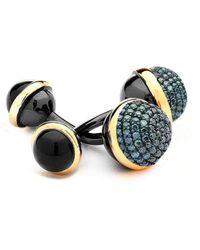 Syna - 18kt 925 Cufflinks With Diamonds Black Onyx - Lyst
