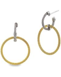 Alor - 18kt White Gold & Stainless Steel Classique Circle Diamond Drop Earrings - Lyst