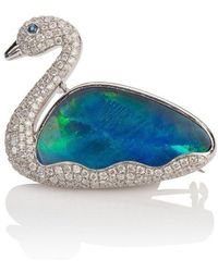 Mara Hotung 18kt White Gold Opal & Diamond Swan Brooch