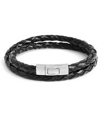 Tateossian - Double Wrap Scoubidou Bracelet In Black - Lyst