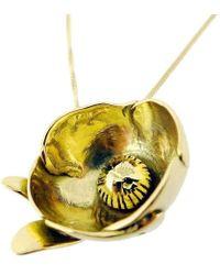 Rachel Helen Designs - 18kt Yellow Gold Peony Bud Pendant, Paeonia Officinalis - Lyst