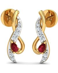 Diamoire Jewels 18kt Yellow Gold 0.05ct Pave Diamond Infinity Earrings With Ruby ej2R74pH