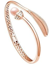 Fei Liu - 18kt Rose Gold Plated Snowdrop Pearl Leaf Bangle With Cz - Lyst