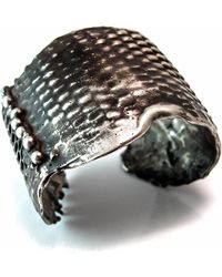 Private Opening - Large Snake Skin Oxidized Silver Cuff - Lyst
