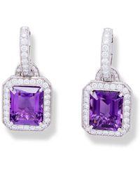 Katherine LeGrand Custom Goldsmith - White Gold & Amethyst Drop Earrings | Katherine Legrand - Lyst