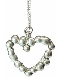 Private Opening - Melting Heart Granulated Shiny Silver Heart Pendant - Lyst