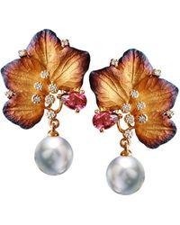 Chekotin Jewellery - Gold & Pearl Eden Earrings   - Lyst
