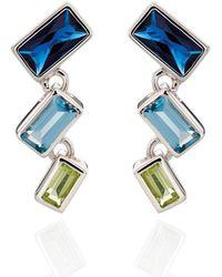 Fiorelli - Blue Degradee Baguette Earrings - Lyst