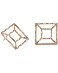 Bridget King Jewelry - Diamond Rose Windowpane Earrings - Lyst