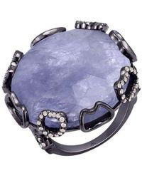 Arya Esha - Gold, Iolite & Diamond Harper Ring | - Lyst
