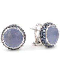Rina Limor - Chalcedony And Sapphire Round Stud Earrings - Lyst